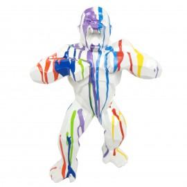 Statue origami en résine gorille singe donkey kong multicolore blanc 40 cm