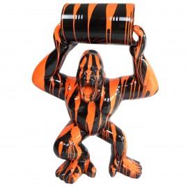 Statue en résine Donkey Kong gorille singe noir et orange avec tonneau -Damien- 140 cm