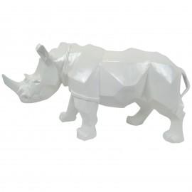 Statue rhinocéros origami blanc - 42 cm
