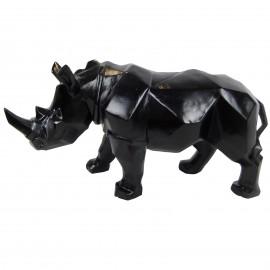 Statue rhinocéros origami noir - 42 cm