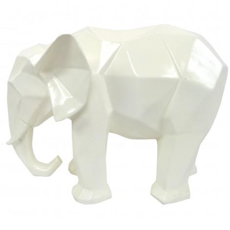 Statue éléphant en origami blanc - 40 cm