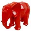 Statue éléphant en origami rouge - 40 cm