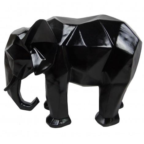 Statue éléphant en origami noir - 40 cm