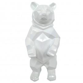 Statue ours debout en origami blanc - 40 cm
