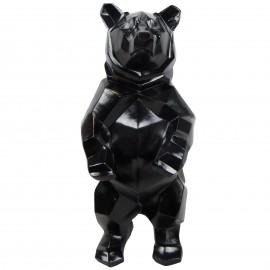 Statue ours debout en origami noir - 40 cm