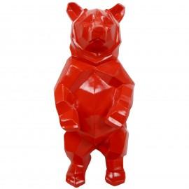 Statue ours debout en origami rouge - 40 cm