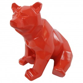Statue ours assis en origami rouge - 28 cm