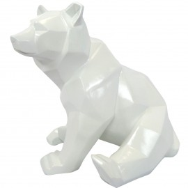 Statue ours assis en origami blanc - 28 cm