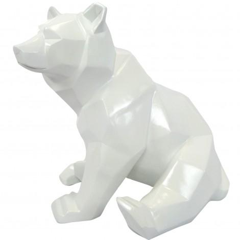 Statue ours assis en origami blanc - 28 cm