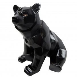 Statue ours assis  en origami noir - 28 cm