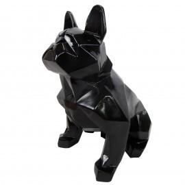 Statue en résine bouledogue français assis origami noir - 30 cm