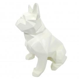 Statue en résine bouledogue français assis origami blanc - 30 cm