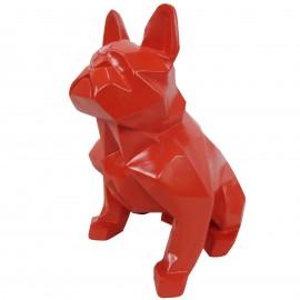 Statue en résine bouledogue français assis origami rouge - 30 cm