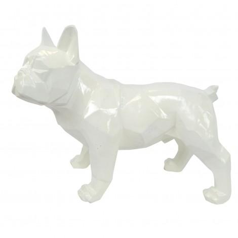 Statue en résine bouledogue français debout origami blanc - 40 cm