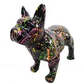 Statue chien bouledogue Français en résine noire multicolore longueur 35 cm