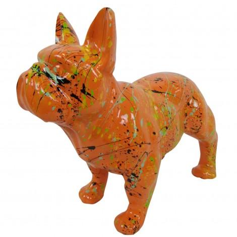Statue chien bouledogue Français en résine orange multicolore longueur 35 cm
