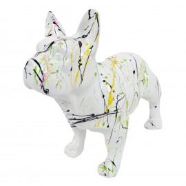 Statue chien bouledogue Français en résine blanche multicolore longueur 35 cm