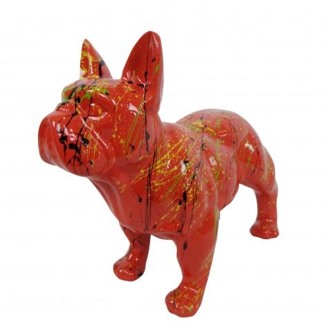 Statue chien bouledogue Français en résine rouge multicolore longueur 35 cm