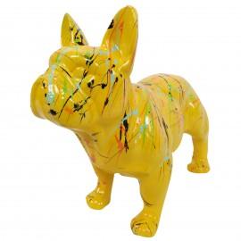 Statue chien bouledogue Français en résine jaune multicolore longueur 35 cm