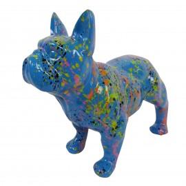 Statue chien bouledogue Français en résine bleu multicolore longueur 35 cm