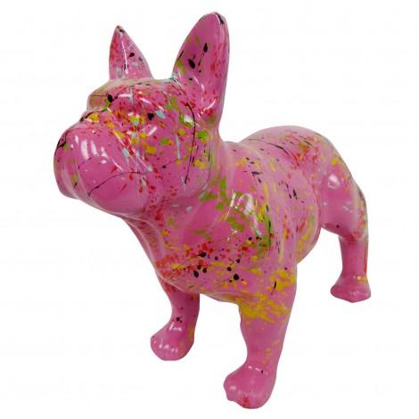 Statue chien bouledogue Français en résine fuchsia multicolore longueur 35 cm