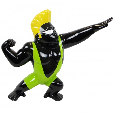 Statue en résine gorille singe surfeur maillot vert 85 cm
