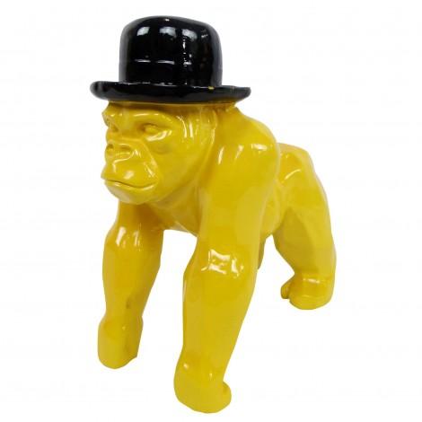Statue en résine singe gorille jaune en origami - 25 cm