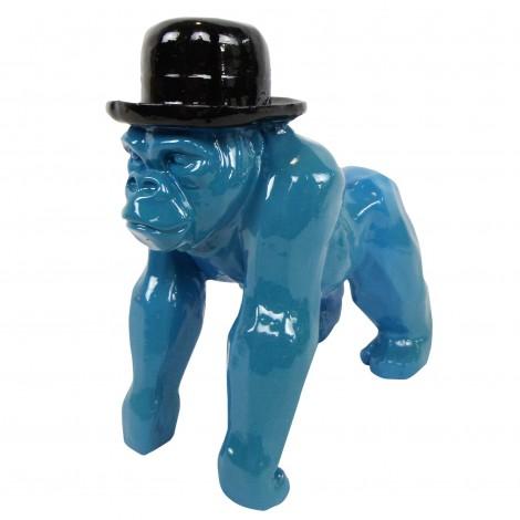 Statue en résine singe gorille bleu en origami - 25 cm
