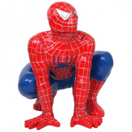 Statue en résine spider-man accroupi rouge 60 cm