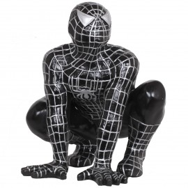 Statue en résine spider-man accroupi noir 60 cm