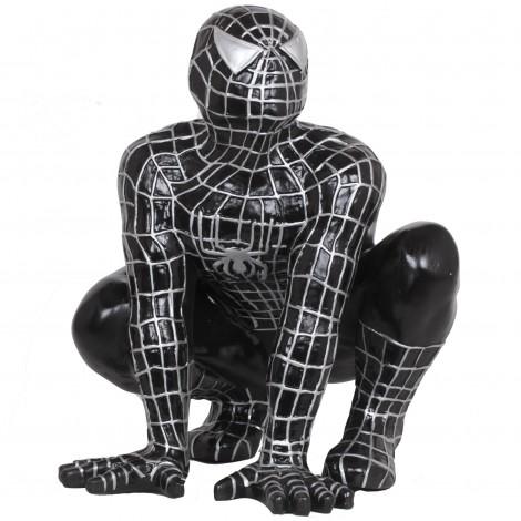 Statue en résine spiderman accroupi noir 60 cm