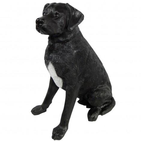 Statue CHIEN labrador ASSIS noir- 90 cm