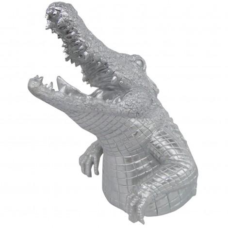Statue en résine tête de crocodile argent gueule ouverte - 45 cm