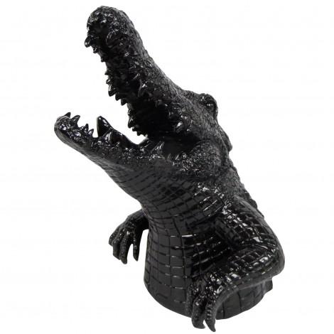 Statue en résine noire crocodile gueule ouverte - 45 cm
