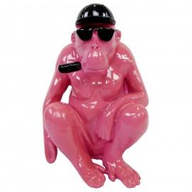 Statue en résine singe gorille fuchsia assis - 25 cm