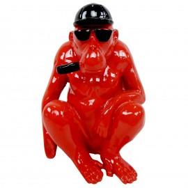 Statue en résine singe gorille rouge assis - 25 cm