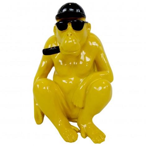 Statue en résine singe gorille aune assis - 25 cm