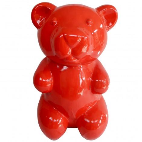 Statue en résine ours rouge XXL - 100 cm
