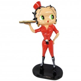 Statue en résine Betty Boop serveuse en habits rouge 95 cm