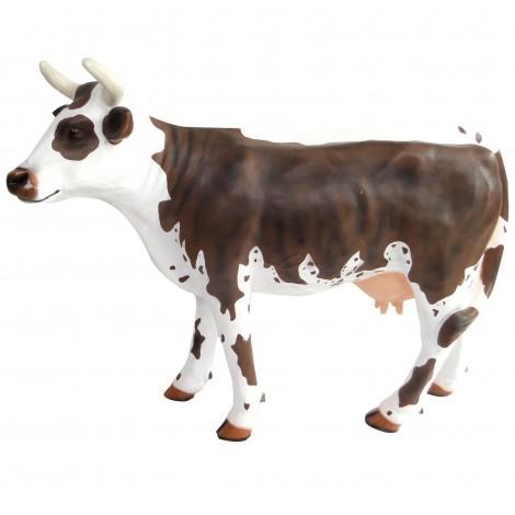 Statue en résine vache marron et blanc 140 cm