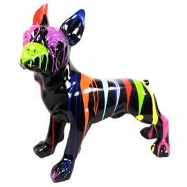 Statue en résine bouledogue français assis multicolore fond noir - 90 cm