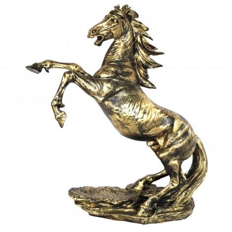 Statue en résine cheval cabré doré - 90 cm