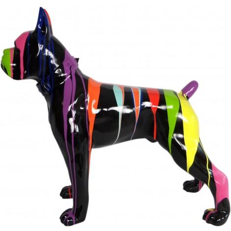 Statue chien boxer collier multicolore fond noir en résine - 105 cm