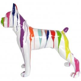 Statue chien boxer collier multicolore fond blanc en résine - 105 cm