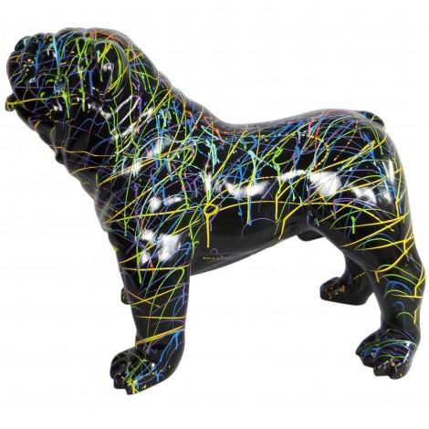 Statue en résine CHIEN bouledogue anglais multicolore fond noir - 90 cm