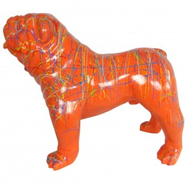 Statue en résine CHIEN bouledogue anglais multicolore fond orange - 90 cm