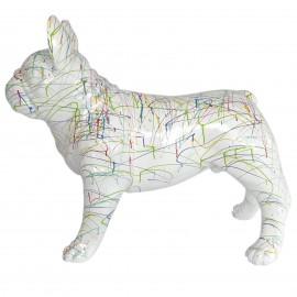 Statue chien bouledogue Français en résine multicolore fond blanc - Victor- 90 cm