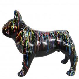 Statue chien bouledogue Français en résine multicolore fond noir 90 cm