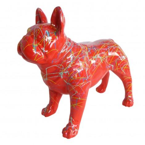 Statue chien bouledogue Français en résine multicolore fond rouge 90 cm