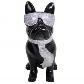 Statue chien bouledogue Français à lunette en résine noir et argent 37 cm